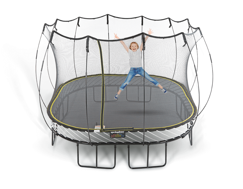 11ft Large Square Enclosed Springfree Trampoline