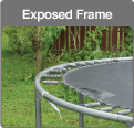 Traditional trampoline exposed frame