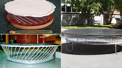 Early Springfree Trampoline prototypes