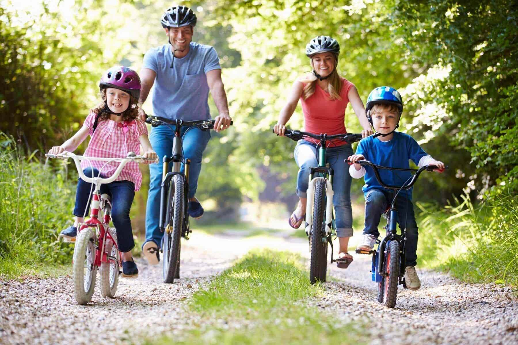 Going for a family bike ride